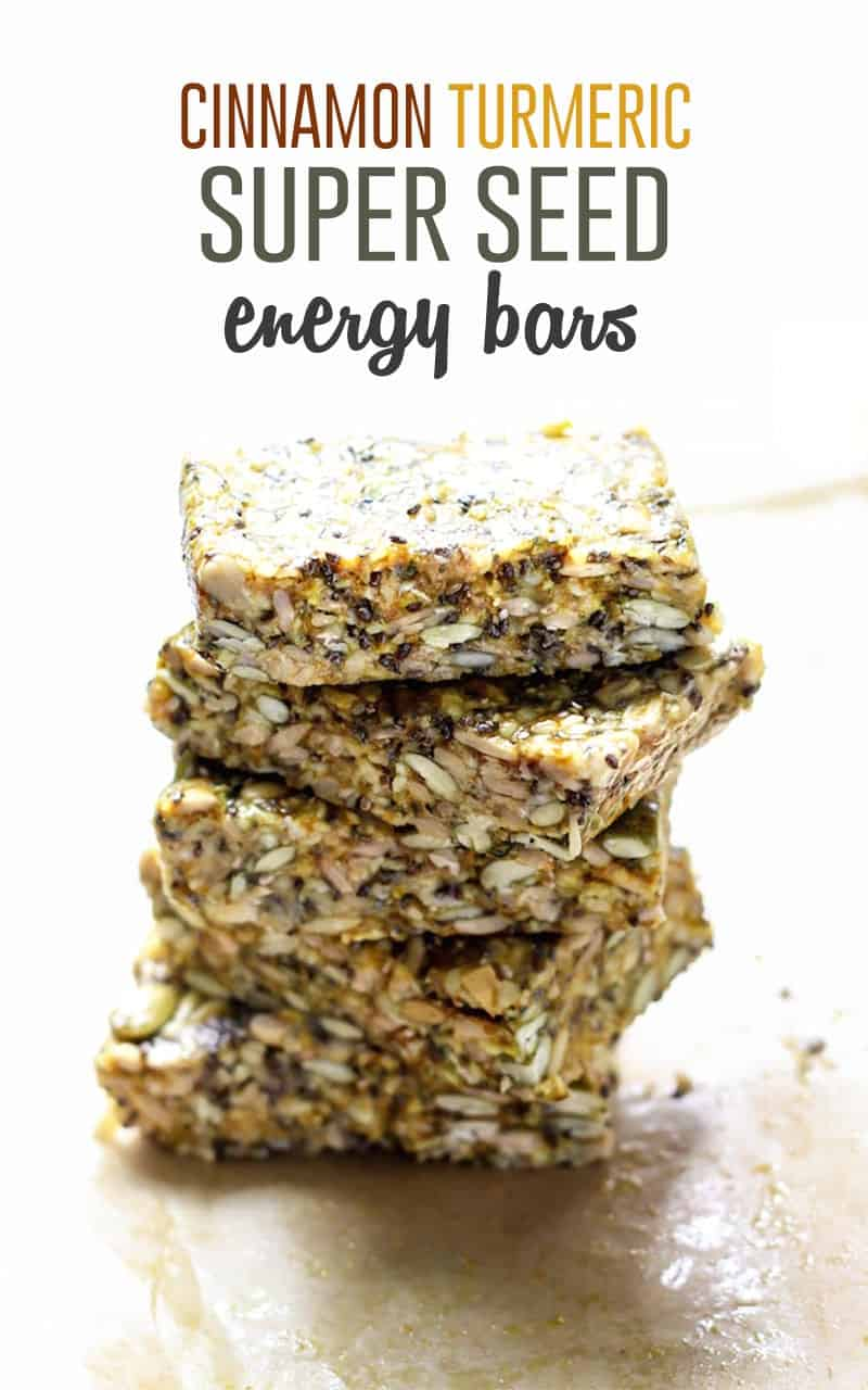 Lots of healthy fats packed into these no-bake Cinnamon Turmeric Super Seed Energy Bars. Lower carbs, and only 5 grams of sugar per bar! Vegan, gluten-free and nut-free friendly.