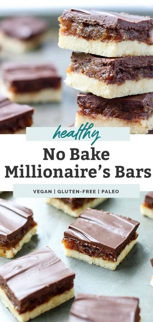 two photos of healthy no bake millionaire's bars stacked on top of counter