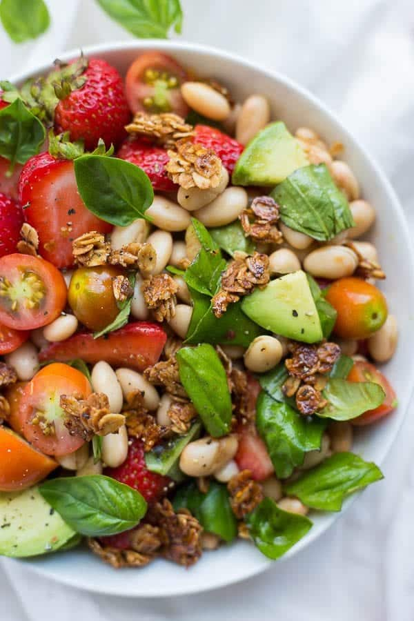 Strawberry White Bean Caprese Salad [ summer salads ]
