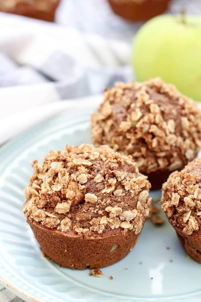 So much flavor in these Cinnamon Apple Muffins. Whole Wheat, dairy-free, super moist.