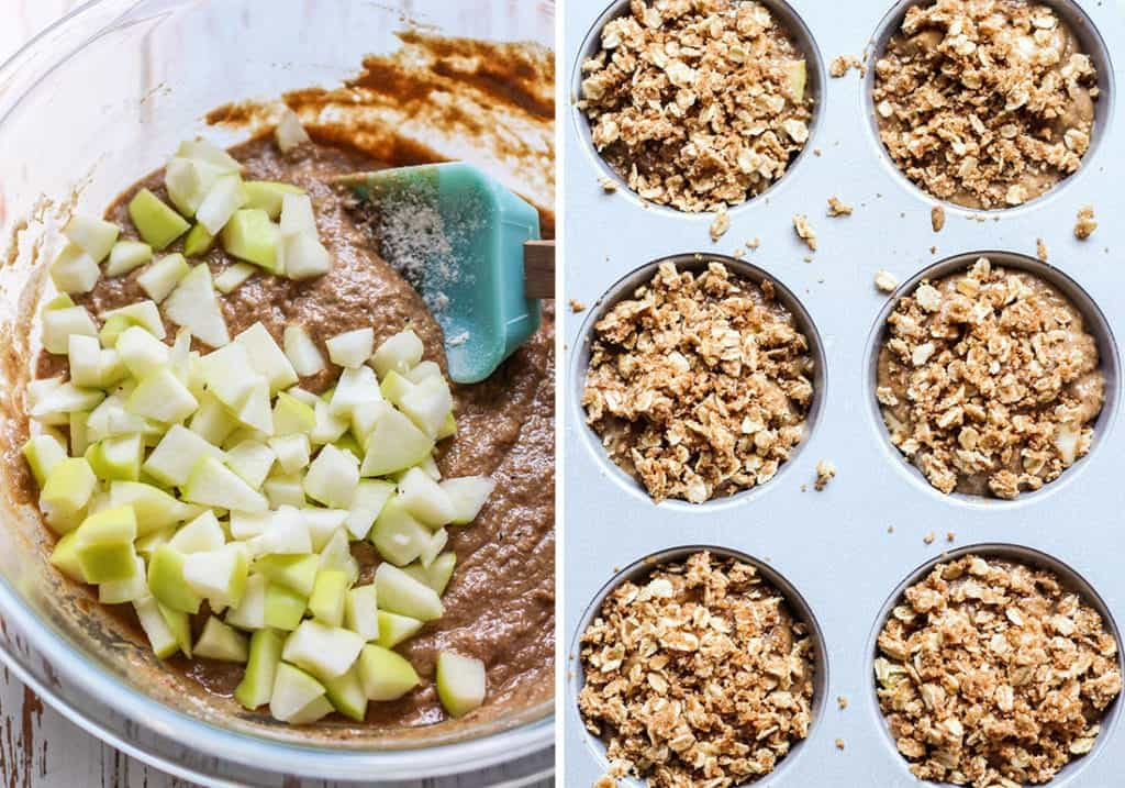 Diced apples and the cinnamon oat streusel topping make these apple muffins so so good.