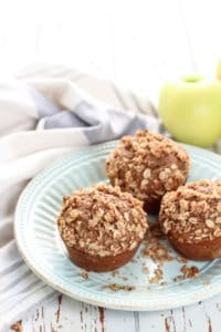Soft & moist whole wheat Cinnamon Apple Muffins. The oat streusel is a must!