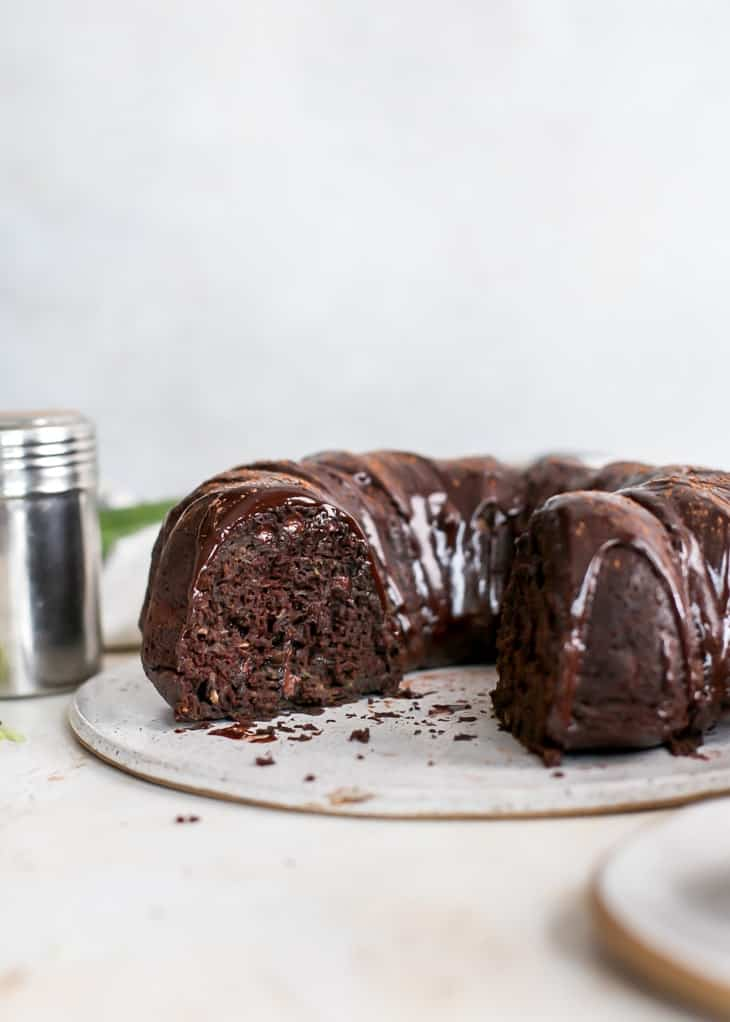 cut chocolate zucchini bundt cake