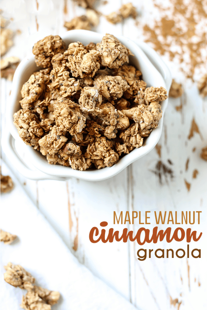 This Maple Walnut Cinnamon Granola is easy to make and goes with everything! Gluten-free, vegan, and it makes your house smell amazing...