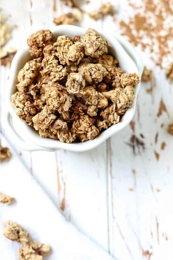 Easy, vegan, gluten-free friendly Maple Walnut Cinnamon Granola.