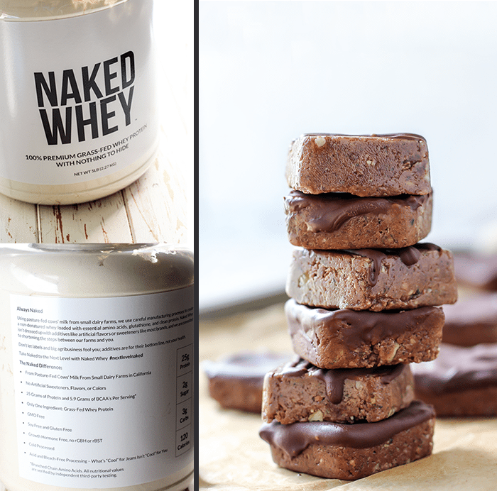 No-bake, Nut-Free Ginger Chocolate Protein Bars with simple ingredients. Each square has about 5 grams of fat, 12 grams of carbohydrates, and 6 grams of protein. Perfect workout snack!
