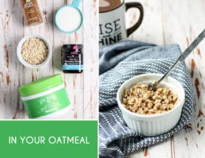 Everyday Easy Ways to Add Collagen to Your Diet... stir in peptides or gelatin into your oatmeal in the morning! Super easy.
