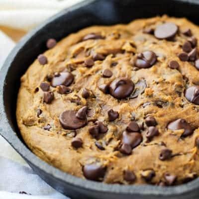 Pumpkin Chocolate Chip Skillet Cookie [ GF, DF ]