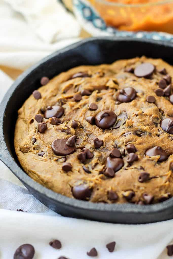 Easy Pumpkin Chocolate Chip Skillet Cookie! One bowl, dairy-free, gluten-free, and refined sugar-free.