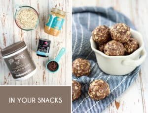 Everyday Easy Ways to Add Collagen to Your Diet... Use the cocoa + coco to make energy balls! A good filling snack with protein and collagen, plus whey.