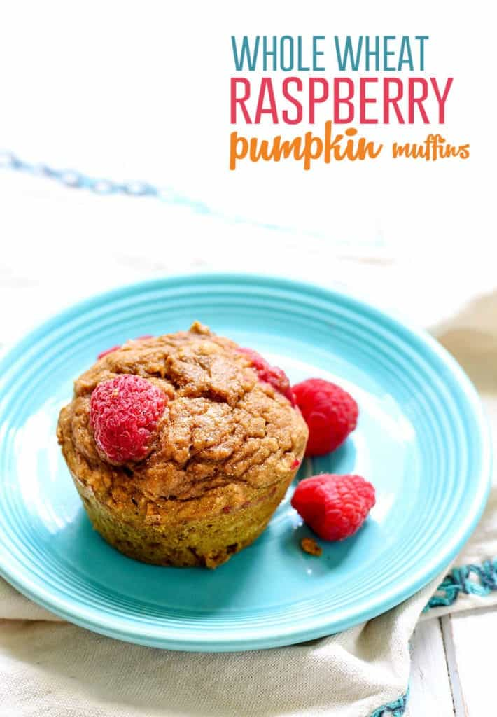 Whole Wheat Raspberry Pumpkin Muffins! These muffins are refined sugar-free, dairy-free and low fat, plus they've been vegan-tested and approved.