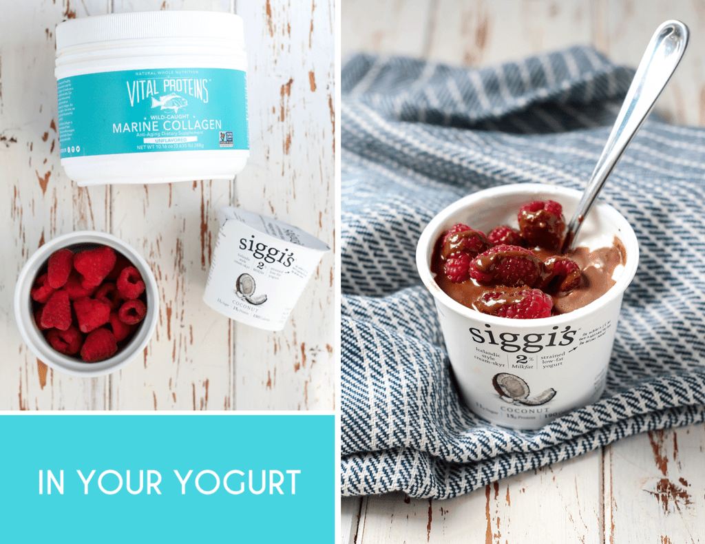 Everyday Easy Ways to Add Collagen to Your Diet... Stir into your favorite yogurt!