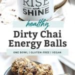Two photos of dirty chai energy balls. Sitting inside of coffee mug placed on table