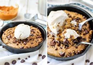 Ice cream is 100% necessary for this pumpkin cookie skillet.