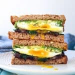 Avocado Black Bean Breakfast Sandwich. Healthy fats, good carbs, protein!