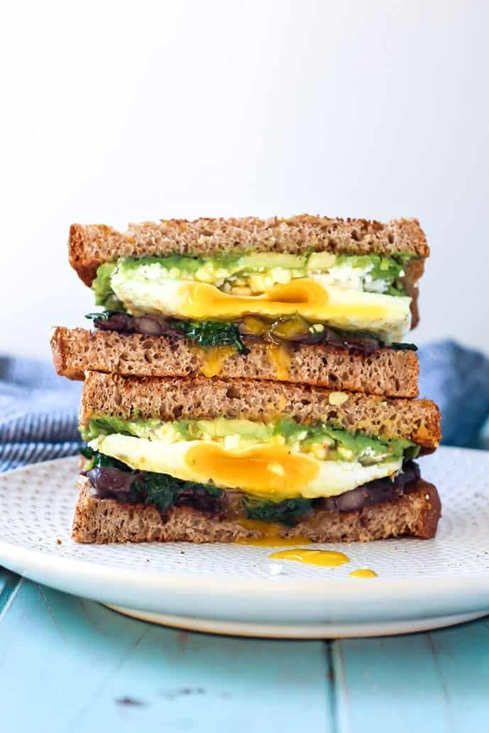 Avocado Black Bean Breakfast Sandwich on white plate