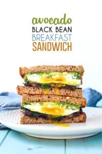 This Avocado Black Bean Breakfast Sandwich will be your new favorite. The perfect way to start your morning with healthy fats, good carbs and plenty of protein.