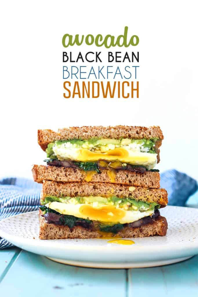Avocado Black Bean Breakfast Sandwich pinterest image