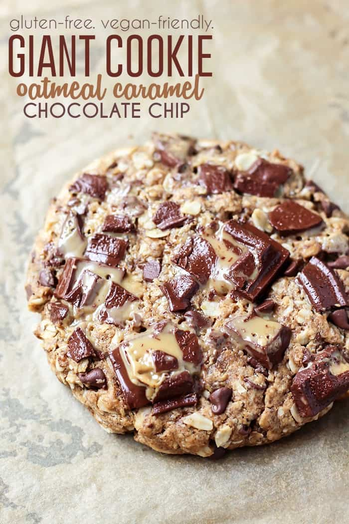 An oatmeal caramel chocolate chip GIANT cookie!