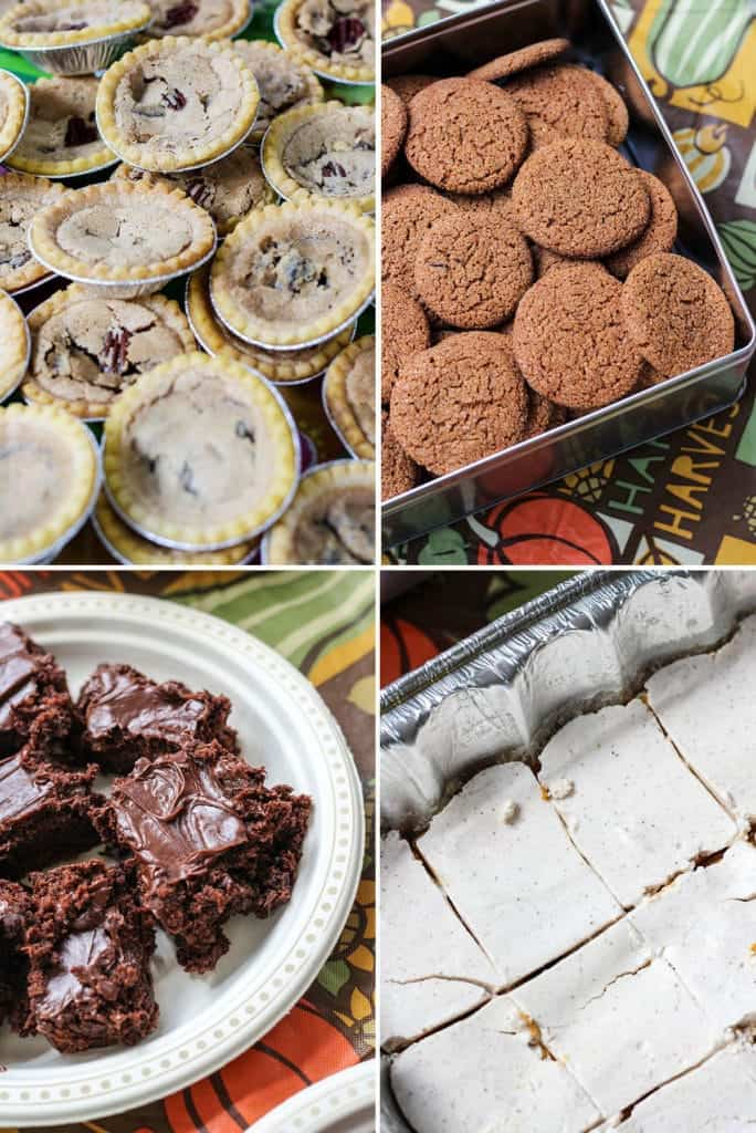 Desserts butter tarts gingersnap cookies brownies pumpkin cheesecake Camping at The Pinery for Thanksgiving in Canada.