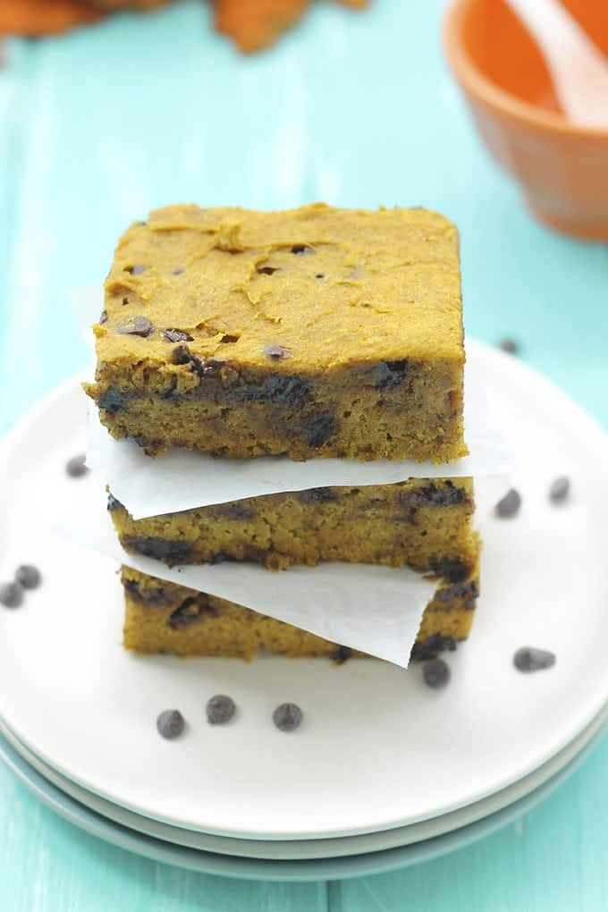 Pumpkin Choclate Chip Blondies on white plate The Healthy Maven