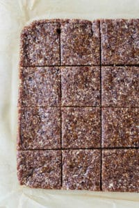 easy paleo protein bar recipe cut into squares on parchment paper
