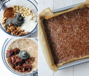paleo protein bar ingredients in bowl of food processor and spread out in baking dish