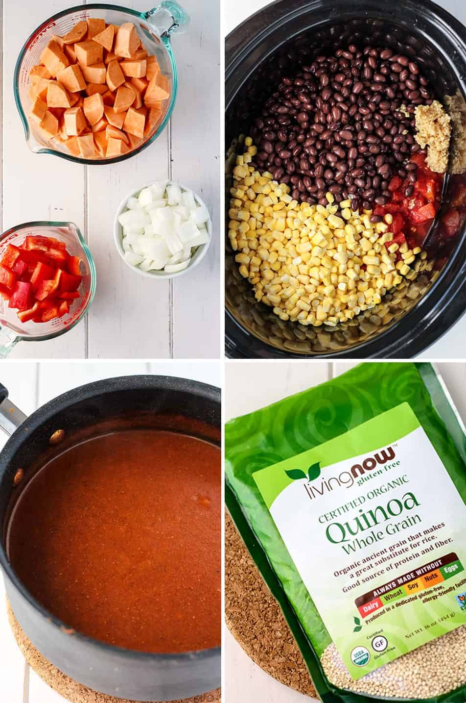 homemade enchilada sauce ingredients in measuring cups crock pot pan