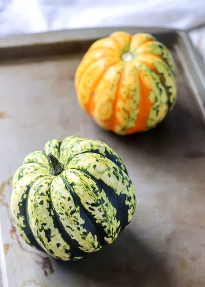 Squashes on baking sheet