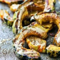 Delicious sweet & spicy roasted squash. Use acorn, sweet dumpling, carnival etc!