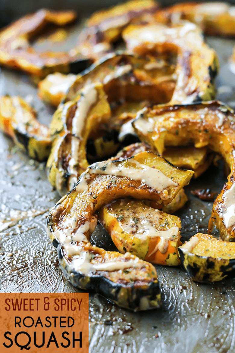 Sweet & Spicy Roasted Squash pinterest image