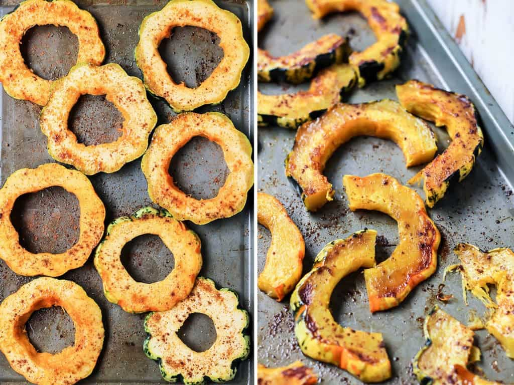Sweet & Spicy Roasted Squash sliced on baking sheet