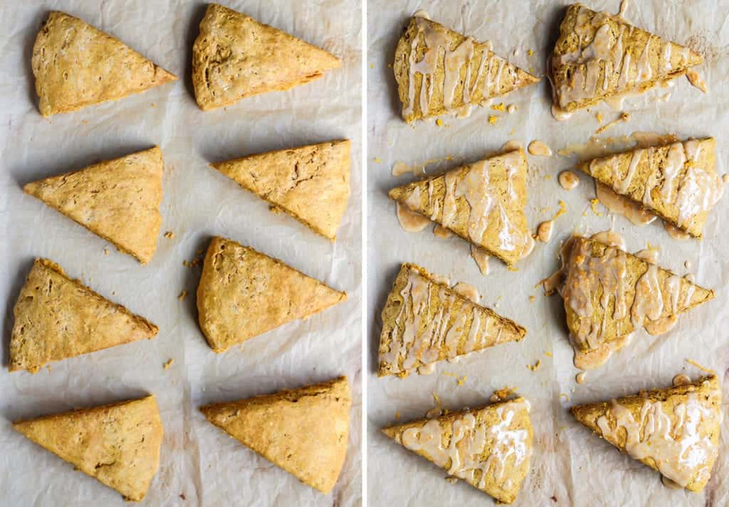 healthy pumpkin scones on parchment paper