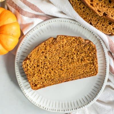 whole wheat pumpkin bread on circle plate