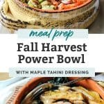 Fall Harvest Power Bowl salad brussel sprouts and tahini dressing in orange bowl with squashes