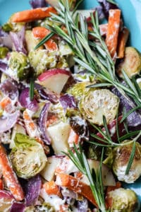 1 pan creamy roasted vegetables with smoked sea salt and rosemary goat cheese!