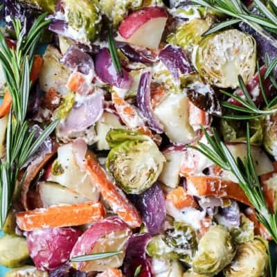 1-Pan Rosemary Roasted Vegetables with Creamy Goat Cheese
