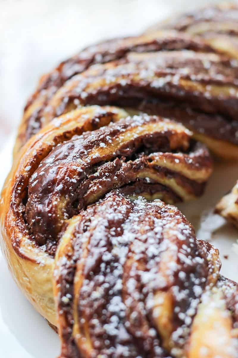 Chocolate Braided Bread on white plate