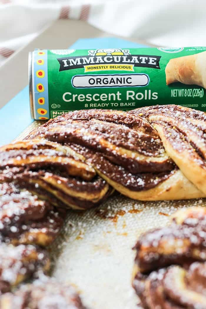 2-Ingredient Chocolate Braided Bread with immaculate baking co crescent roll