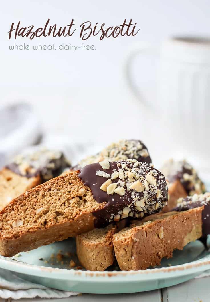 Whole Wheat Chocolate Dipped Hazelnut Biscotti pinterest image fit mitten kitchen