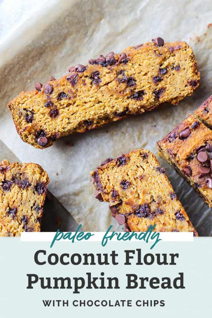 sliced coconut flour pumpkin bread with chocolate chips