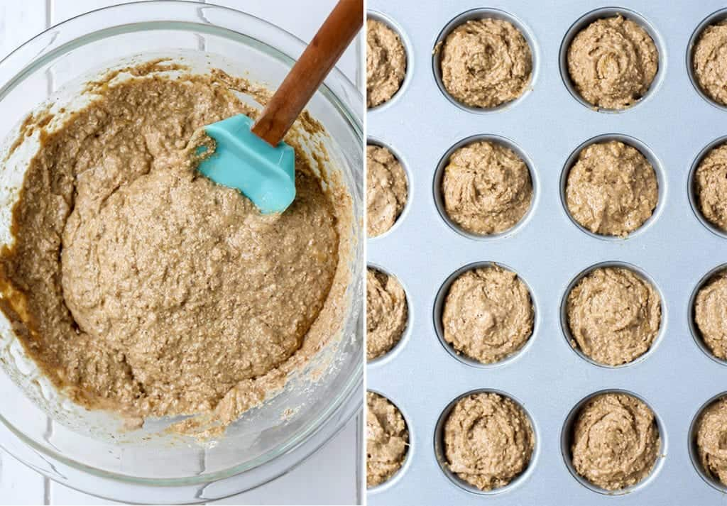 gluten free vegan banana mini muffins in clear bowl and muffin pan with teal spatula