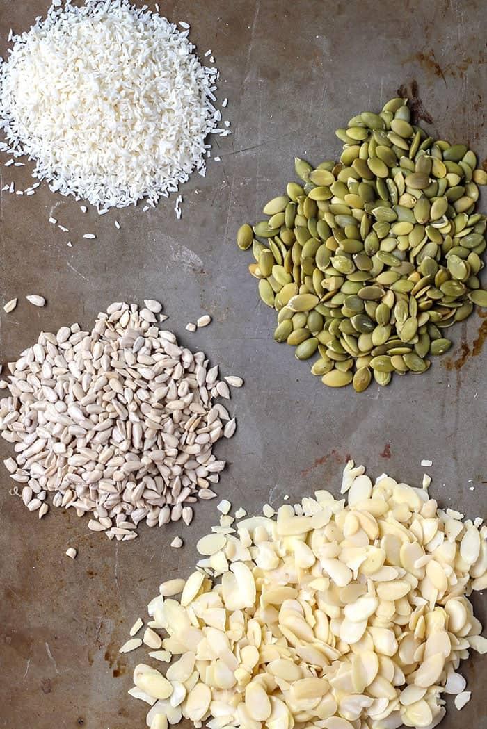 Easy, grain-free no-bake cookie ingredients in piles on baking sheet