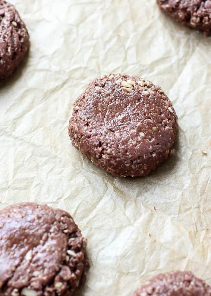 Vegan Grain-Free No-Bake Cookies on parchment paper