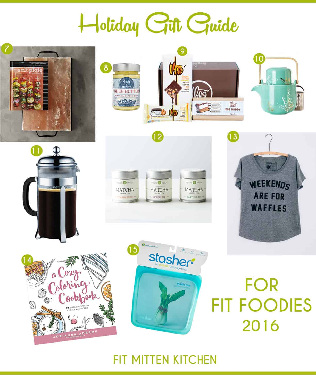 The Holiday Gift Guide for Fit Foodies fit mitten kitchen pinterest image french press cookbook stasher bag
