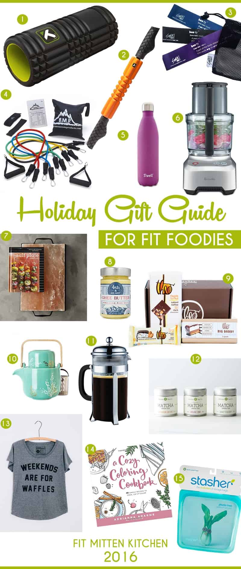 The Holiday Gift Guide for Fit Foodies pinteresst image foam roller water bottle french press stasher bag fit mitten kitchen