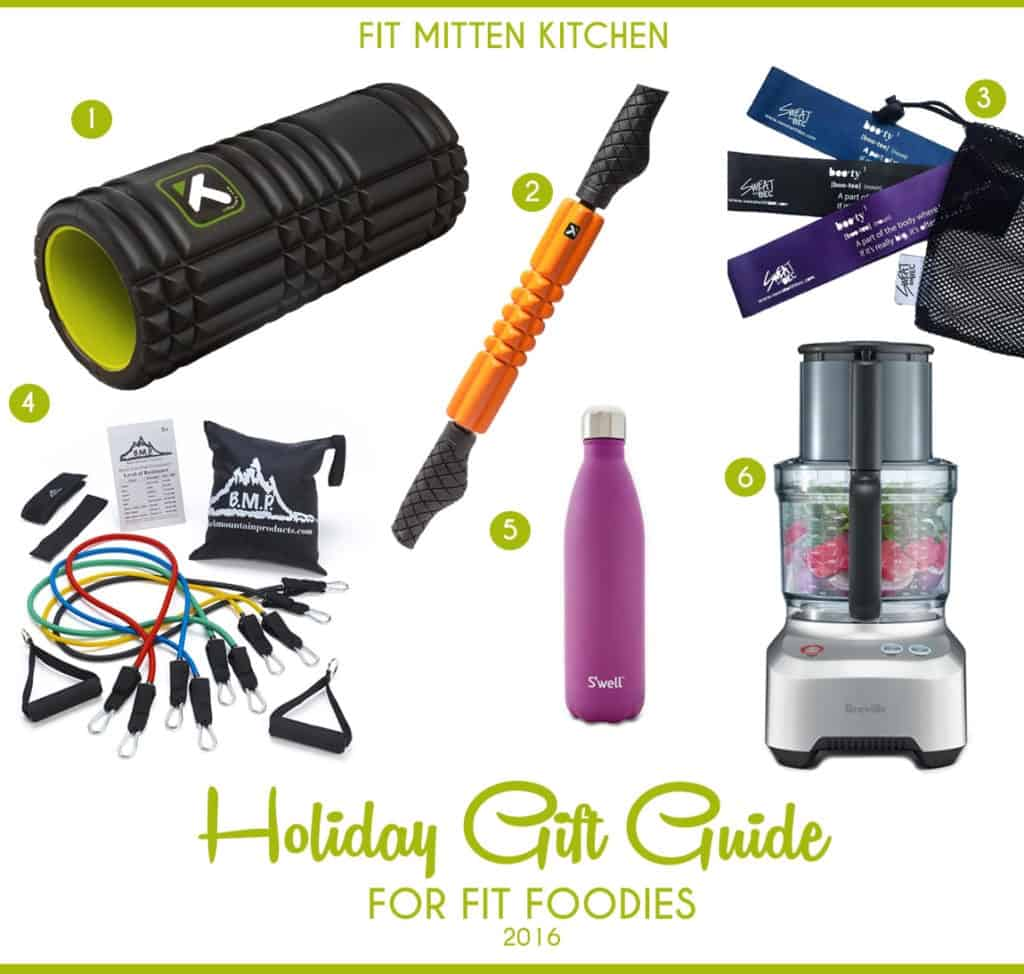 The Holiday Gift Guide for Fit Foodies pinterest image fit mitten kitchen foam roller water bottle