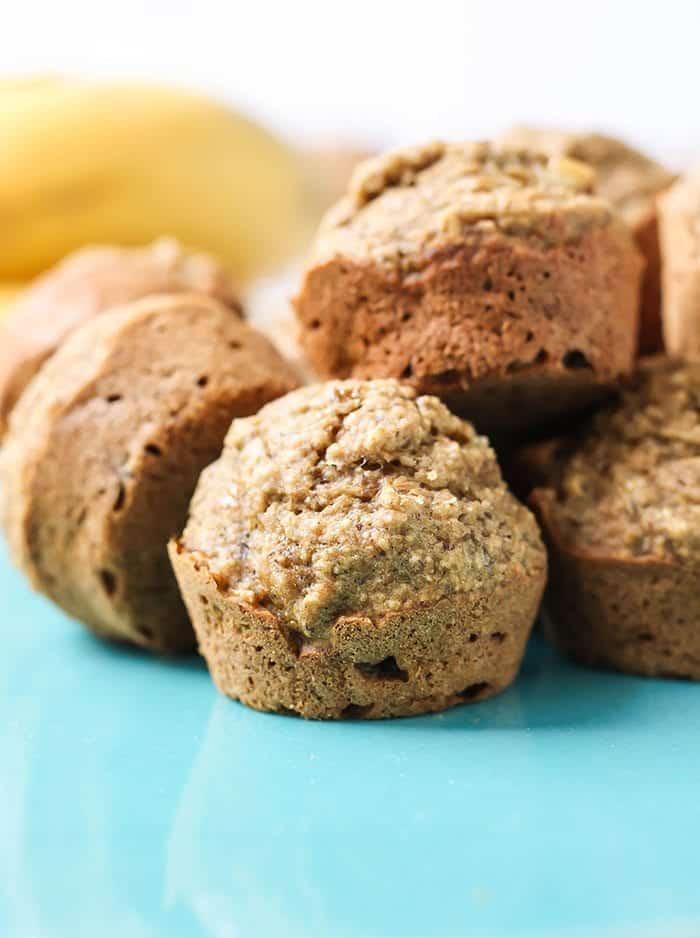 vegan gluten free mini banana muffins on blue plate