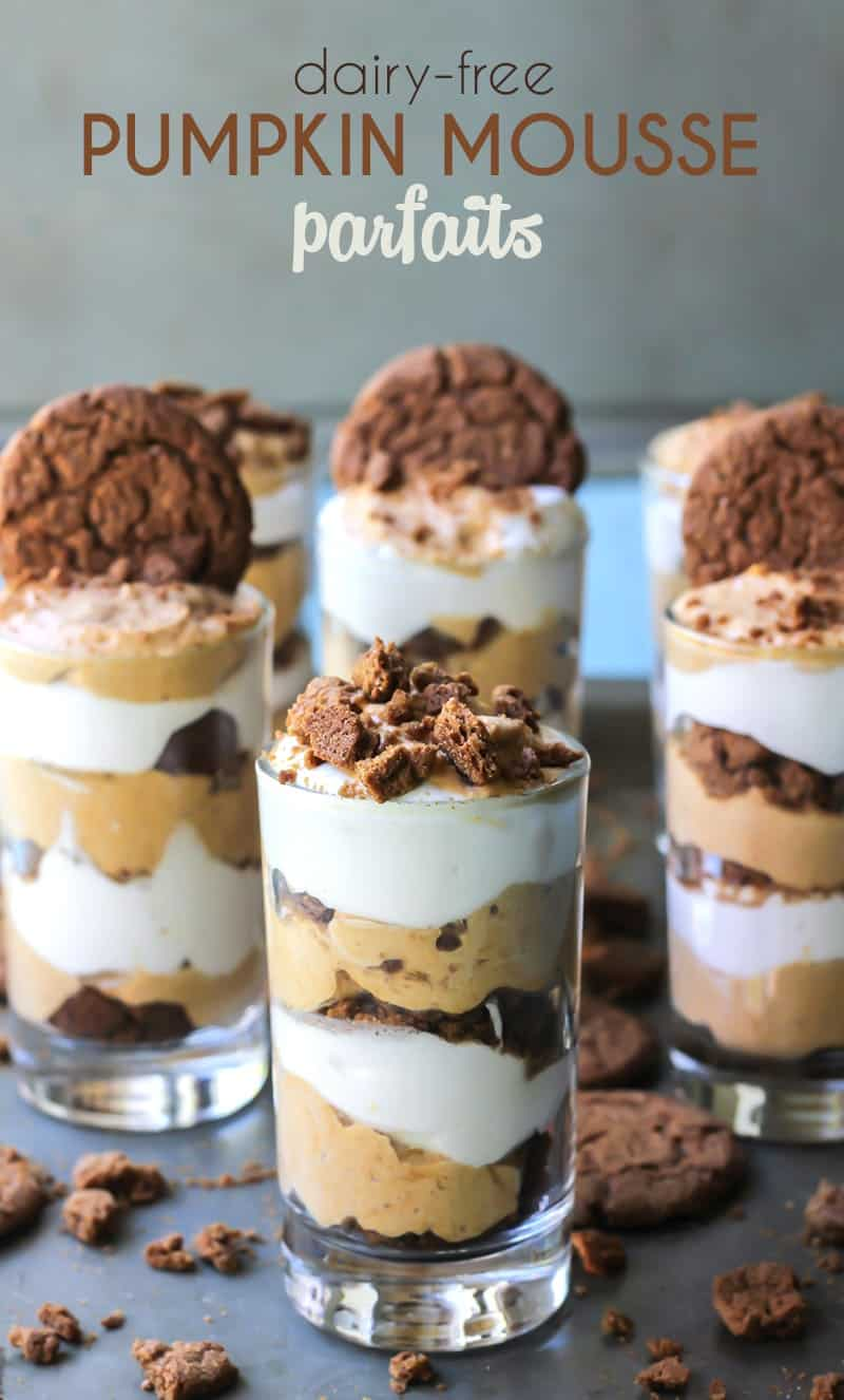 Pumpkin Mousse Parfaits dairy free with cookies pinterest image