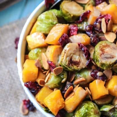Maple Roasted Brussels Sprouts & Squash with Almond Butter Balsamic